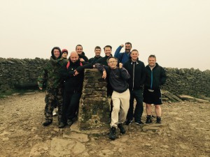 The team of service users and staff from RDaSH Doncaster Drug and Alcohol Services at the top of Pen-y-Ghent