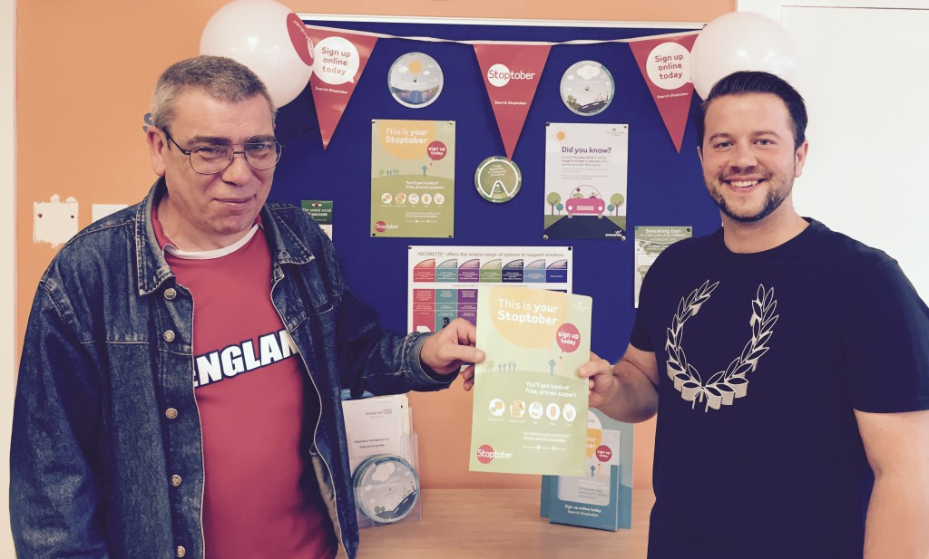 Gary Barker (left) and Mark Blandford (right) launch the Stoptober challenge across Doncaster Drug and Alcohol Services.
