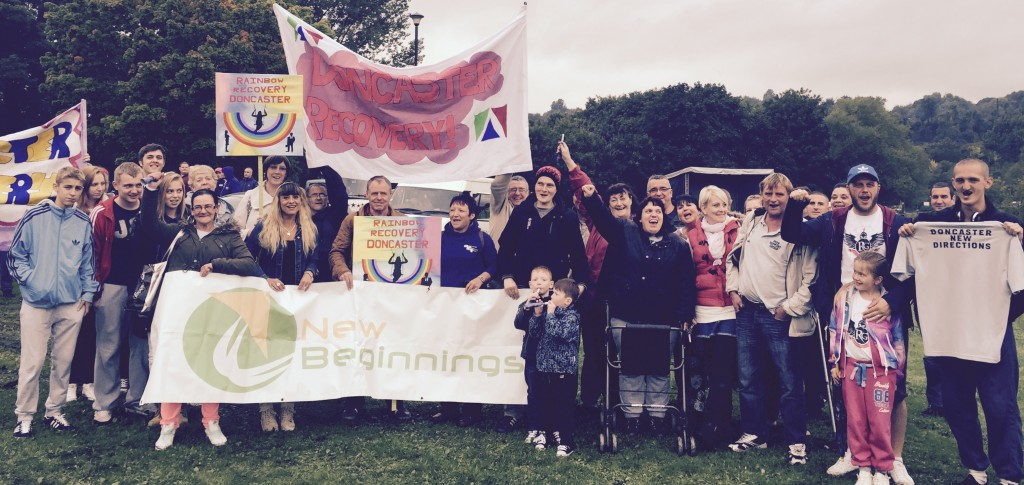 Staff and friends of Doncaster's Drug and Alcohol Services fly the flag at the UK Recovery Walk in Durham.