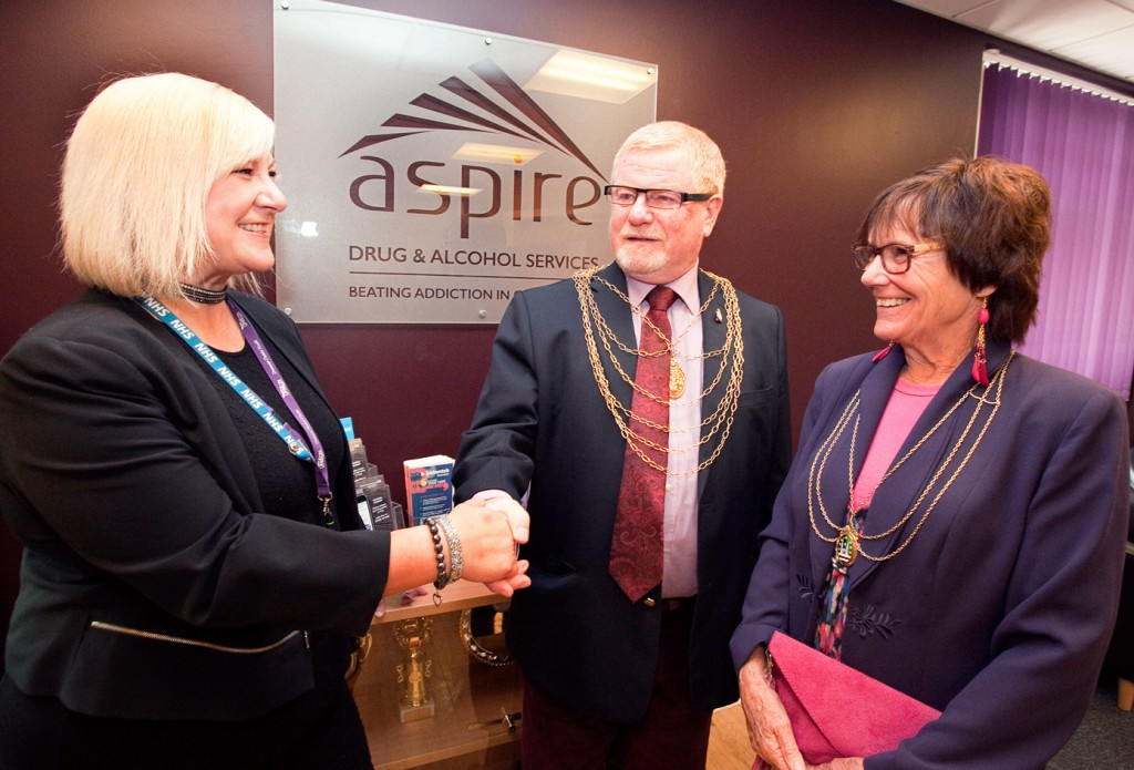 RDaSH Drug and Alcohol Service Manager Paula Brocklesby (left) greets Doncaster Civic Mayor Cllr Paul Wray (centre) and Mayoress Mrs Liz Marsden (right) to New Beginnings.