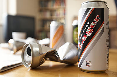 cans of lager on a table