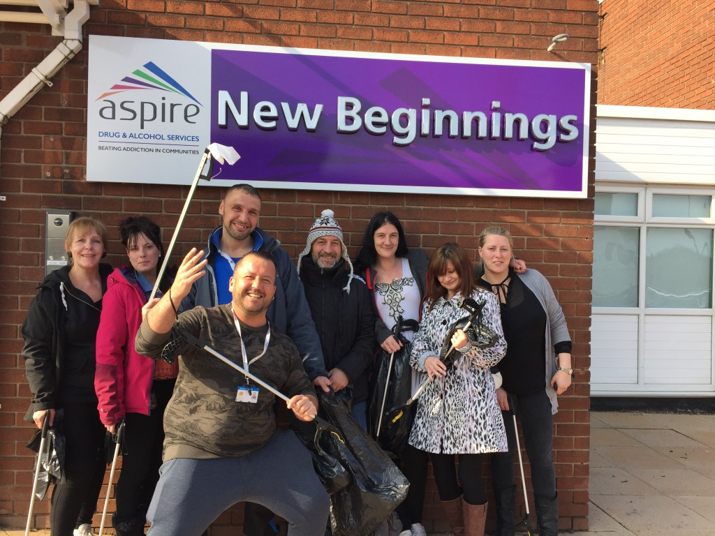 Service users and staff from Aspire's New Beginnings ready to Clean for The Queen.