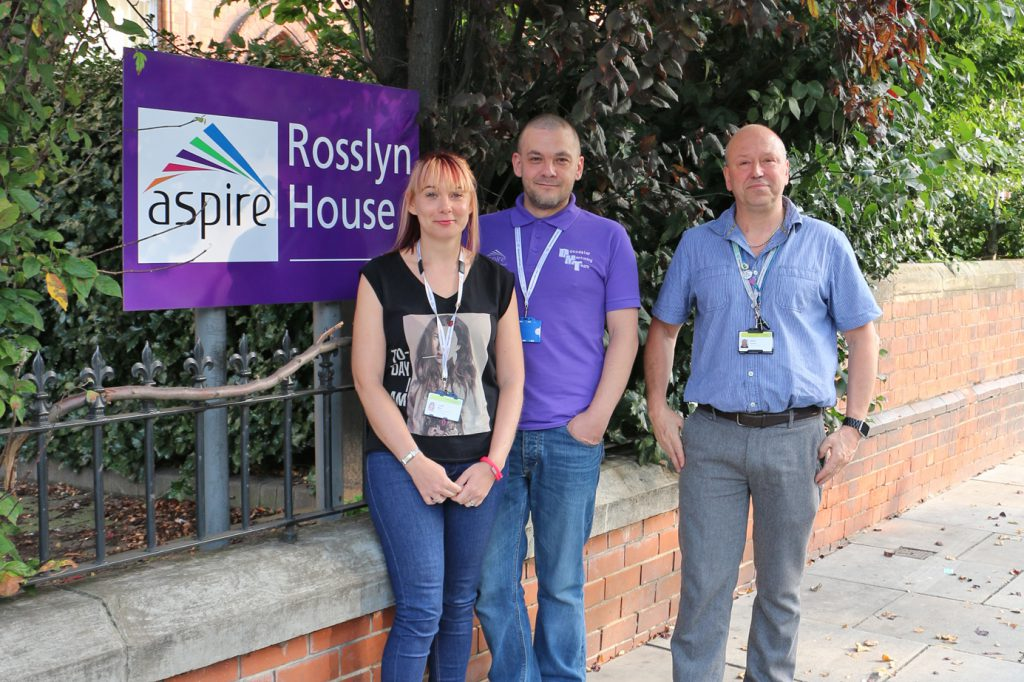 Aspire Volunteer/Peer Mentor Coordinator Lydia Rice (left) and Service Manager Stuart Green (right) pictured with Peer Mentor and SMART Facilitator Paul Walker (centre).
