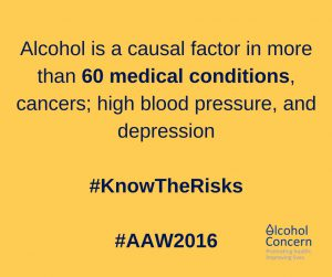 Alcohol Concern image saying alcohol causes 60 medical conditions