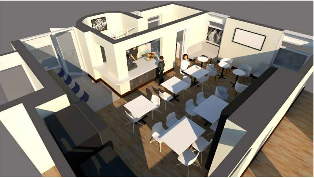 Artist's impression of WellBean coffee shop layout
