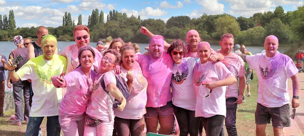 Competitors in the 2016 Recovery Games held at Hatfield Marina are pictured enjoying the colour run celebrations.