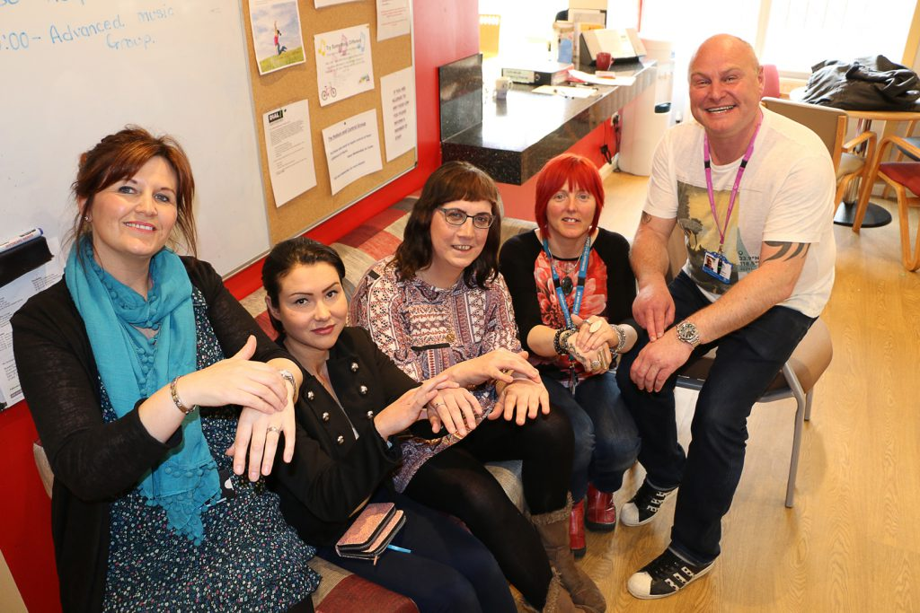 Pictured trying the tapping therapy are from the left, Sally Hickson-Clark, Aspire; Shelli Murphy and Raquel Anne, service users; Lisa Clegg and Paul Shepherd, both Aspire.