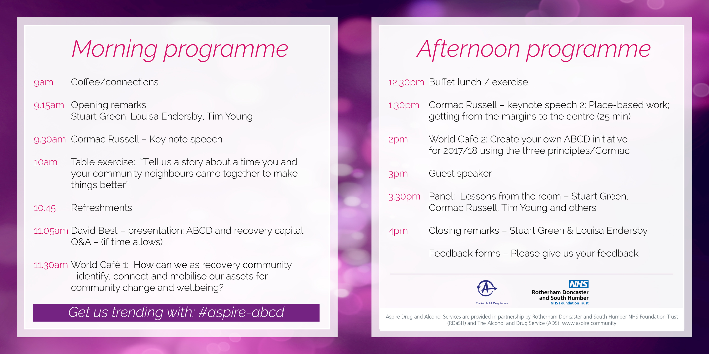Connecting recovery in the community event 5 july aspire drug please click on the image below or follow this link to download the programme altavistaventures Images